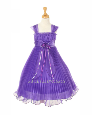 Organza cute pleated girl dress