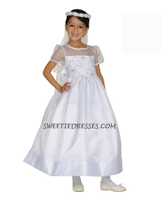 White elegant organza girl dress