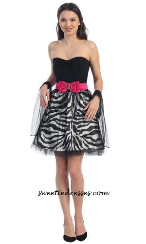 Heart Zebra Tulle Dress Formal Dresses