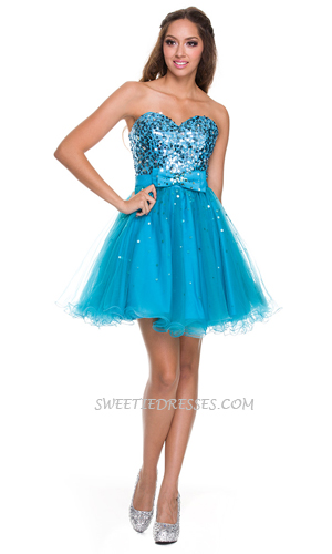 Sweet heart strapless ribbon tulle dress