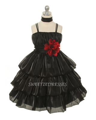 3-Tiered shiny organza girl dress