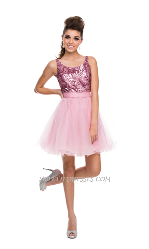 Shiny embroided tulle dress