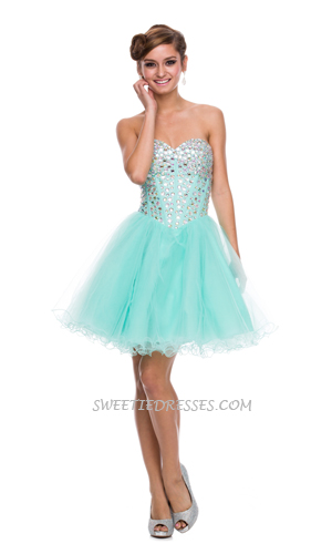 Shiny jeweled sweet heart tulle short dress - Prom Dresses