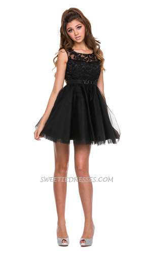Lovely lace beaded tulle short dress
