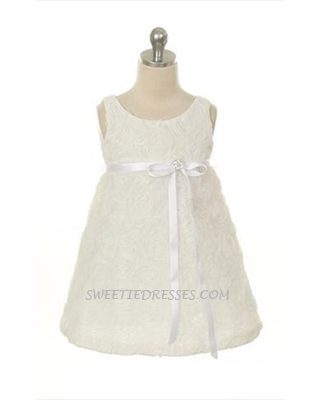 Lovely rosette embroidered girl dress