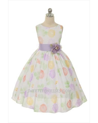 Sleeveless flower print girl dress