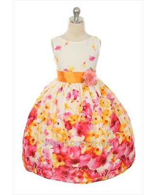Floral print sleeveless girl dress