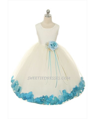 Simple silk petal flower girl dress