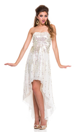 Shiny sprkle beaded hi-low dress