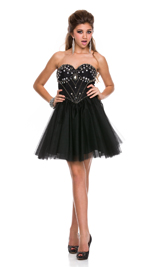 Shiny rhinestone sweet heart tulle short dress