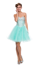 Shiny jeweled sweet heart tulle short dress
