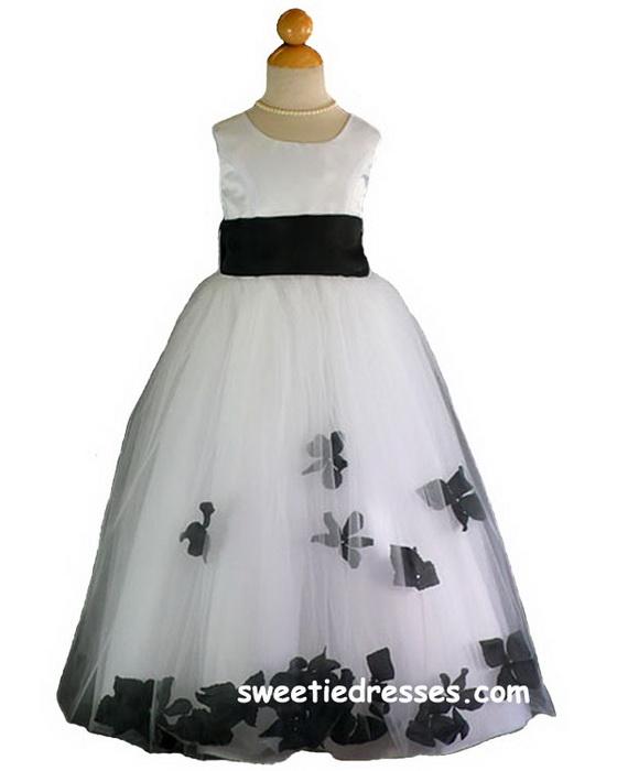 Black flower girl dress long sleeve black dress black flower girl dress on flower petal sleeveless girl dress white black mightylinksfo